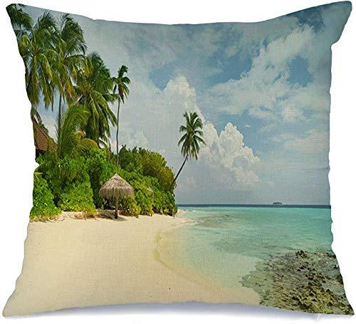Funda de cojín Blue Airlines Hermosa playa de arena Palmeras Coral Parks Bali Bahamas Bay Paisajes Calendario Funda de Cojine 45 X 45CM