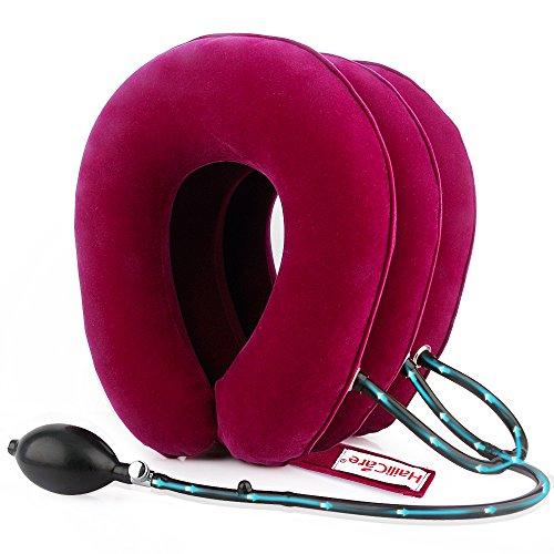 HailiCare Hals Zugvorrichtung - Aufblasbare Halskragen/Nackenstütze - Aufblasbar Cervical Zugmechanik, Verstellbares Kopf-und Nackenmassagegerät fur Lindert Nackenschmerzen -Rot