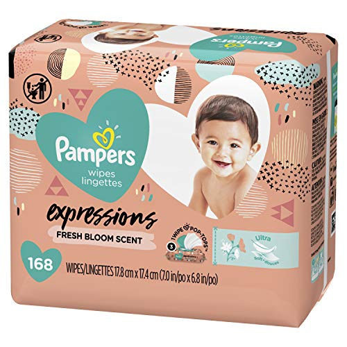 Baby Wipes, Pampers Expressisons Botanical Rain Scented, 3X Pop-Top Packs, 168 Count