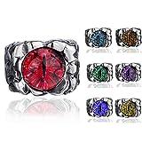 Elfasio Men's Women's Stainless Steel Ring Gothic Green The Devil's Eye Retro Jewelry Size 13
