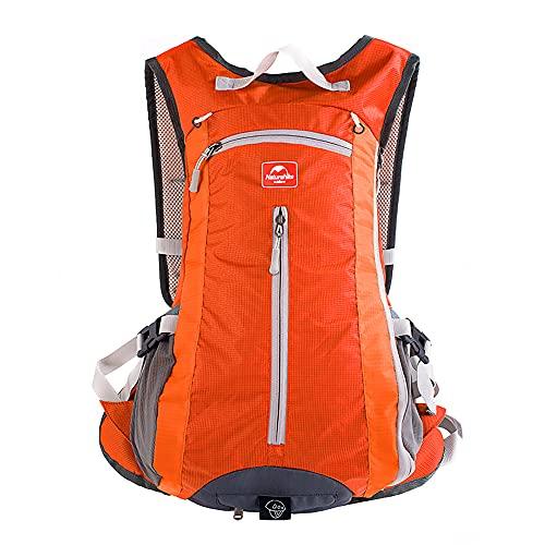 TOFERN Unisexe Sac à Dos Vélo 15L Ultra Léger Respirable Etanche avec Housse de Pluie Bicyclette Randonnée Alpinisme Camping Course Orange