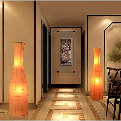 Lámpara de Piso de Papel de arroz Moderno de 47 Pulgadas Ligero para el Estudio de Dormitorio o Espacio de Vida lámpara de Piso Naranja + Interruptor de pie + 2 LED E27 Bombillas Calientes 120 cm