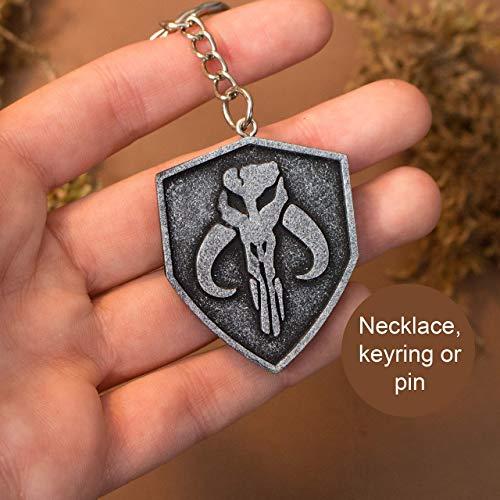 The Mandalorian Halskette Pin Schlüsselanhänger in Silber Farbe Harz, Myhosaur Schädel