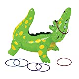 Fun Express Inflatable Alligator Ring Toss Game (Includes 6 Rings) Party Games and Activities for Kids