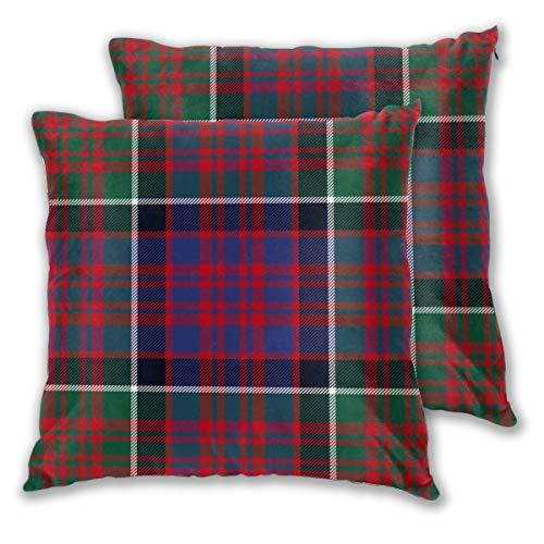 Liliylove Funda de cojín Decorativa de Macdonald of Clan Ranald Rojo tartán cómodo Cuadrado para Banco, sofá, Dormitorio, Coche, Juego de 2, 18 x 18 Pulgadas
