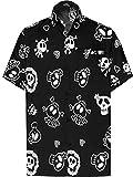 LA LEELA Casual Camisa de Hombre Hawaiana Manga Corta Bolsillo Delantero Playa Vintage Piratas Skeleton Esqueleto Calabaza Skulls Cráneo Cosplay Disfraces De Fiesta De Halloween Costume Negro_W188 XS