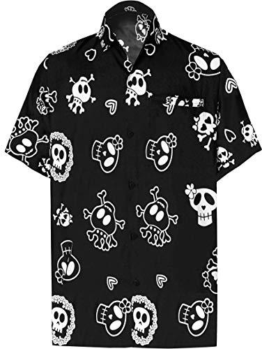 LA LEELA Herren Ghost Happy Halloween Kostüm StrandHawaiihemd Hemd Party Festliche Hawaii Front-Tasche Schwarz_W188 3XL
