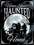 Grindstore Home Sweet Haunted Home - Señal de hojalata negra 30,5 x 40,7 cm