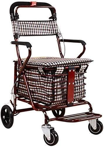 JJSFJH Lightweight Shopping Trolley, Folding Shopping Cart Seat 4 Wheel Trolley Rotate Walker Trolleys Multifunctional (Color : B)