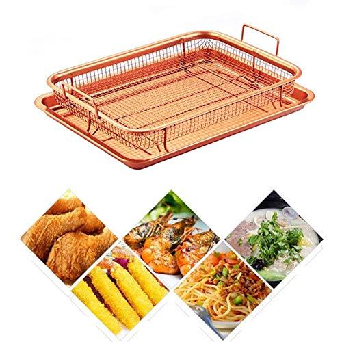 HZL Kupfer Crisper Tablett, Antihaft-Backblech, Kupfer Antihaft-Backofen Mesh Backblech Chips Crisp Basket Tool Bratkorb