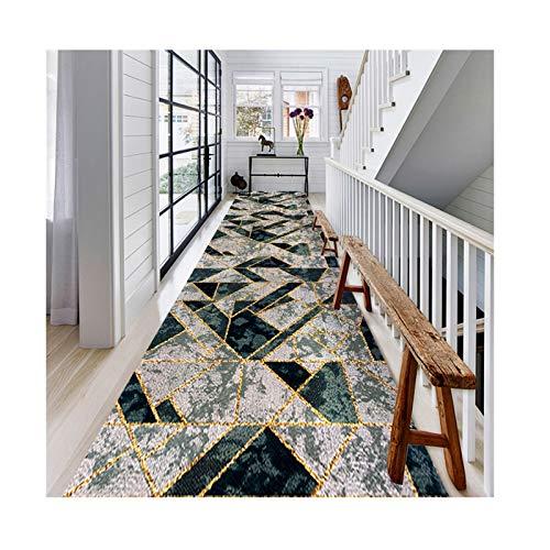 Siunwdiy Alfombras de Corredor, Patchwork gráfico Irregular geométrico 3D con líneas de Gancho Doradas Diseño Antideslizante,para escaleras de Pasillo, Lavables,140x400cnm