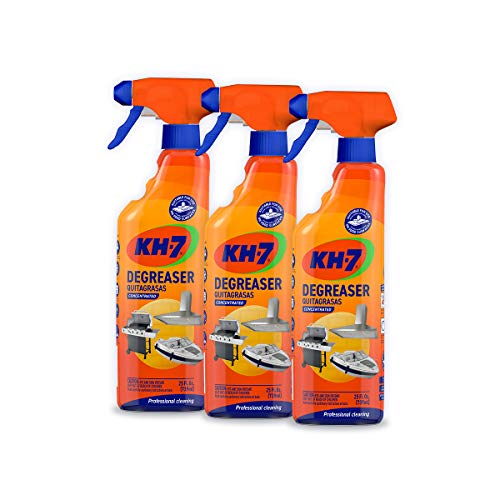 KH-7 Concentrated Degreaser, Professional-grade. Effortless All-Purpose Cleaner: Kitchen, Grill, Oven, Laundry & More! 3 Pack, 25 oz each