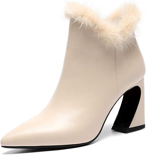 L'Europe et les états-Unis nouvelles bottes de femmes en cuir pointues épaisses avec sexy bottes courtes en cuir cachemire bottes basses fermeture à glissière latérale Plus chaud velours épaississeHommes
