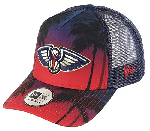 New Era Orleans Pelicans Frame Adjustable Trucker Cap NBA Palm Tree Red/Blue - One-Size