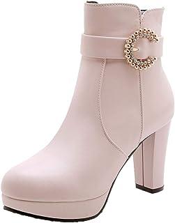 MisaKinsa Women Fashion Platform Boots Block High Heels Zip