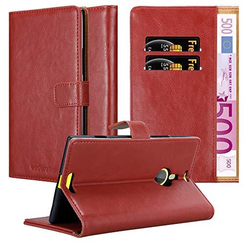 Cadorabo Hülle für Nokia Lumia 1520 - Hülle in Wein ROT – Handyhülle im Luxury Design mit Kartenfach & Standfunktion - Hülle Cover Schutzhülle Etui Tasche Book