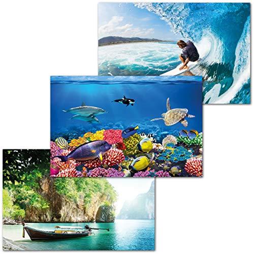 GREAT ART 3er Set XXL Poster Kinder Motive – Teenage Vacation – Unterwasser Korallenriff Thai Boot Bucht Surfer Wellenreiter Dekor Inneneinrichtung Wandbild Plakat je 140 x 100 cm