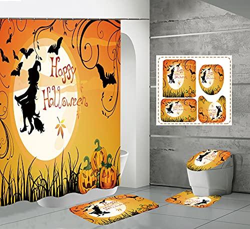CQFFCG Juego de alfombras de baño 4 Piezas de baño de Serie de Halloween con Cortinas de Ducha Alfombrillas de baño Antideslizantes Impermeables Conjuntos (Forma 58)