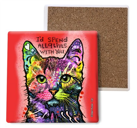SJT ENTERPRISES, INC. Cat - I'd Spend All 9 Lives with You Absorbent Stone Coasters, 4-inch (4-Pack) Features The Artwork of Dean Russo (SJT07011)