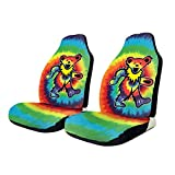NA-1 Hip Hop Grate-ful Dead Dancing Bear Car Seat Cover Protector Cushion Premium Covers for Women, Men, Girls, Boys Fits Most Cars, Truck, SUV Or Van