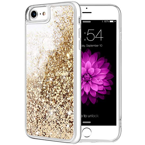 iPhone 8 Case, Caka iPhone 7 8 SE 2020 Glitter Case Bling Flowing Floating Luxury Glitter Sparkle Soft TPU for Women Girls Liquid Case for iPhone 7 8 SE 2020 (4.7 inch) (Gold)