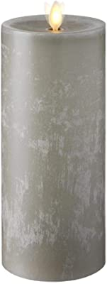 """Raz Imports 3.5""""X9"""" Moving Flame Grey Chalky Pillar Candle - Flameless Lighting Accent and Battery Operated Flickering Light Source with Timer - Fake Candles for Living Room, Patio and Bedroom"""
