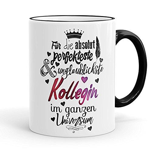 Funtasstic Tasse Für die absolut perfekteste Kollegin - Kaffeepott Kaffeebecher 375 ml, Farbe:schwarz