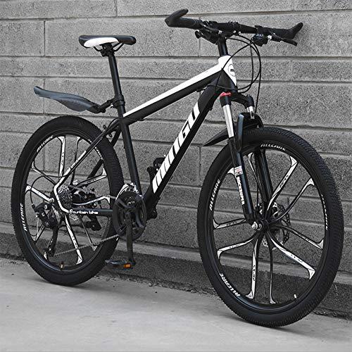 26 Zoll Mountainbike, geeignet ab 150 cm, Scheibenbremse, Vollfederung, Jungen-Fahrrad & Herren-Fahrrad,Black and White,27 Speed