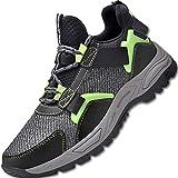 Zapatos de Seguridad Hombre con Punta de Acero Cómodas Zapatos de Trabajo Respirable Construcción Zapatos Botas de Seguridad,Verde Negro,EU42
