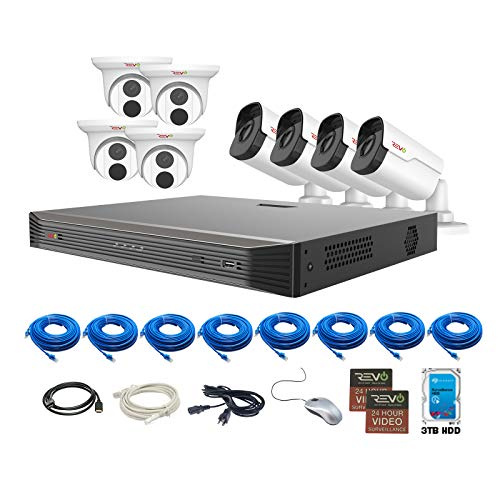 Find Bargain REVO America Ultra 3TB HDD 8 Cameras 16 CH IP Video Surveillance System, Black/White (R...