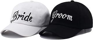 Yoomei Bride Groom Baseball Hats Cotton Embroidery Bachelorette Hats Adults Women Wedding Preparewear Trucker Caps Adjustable