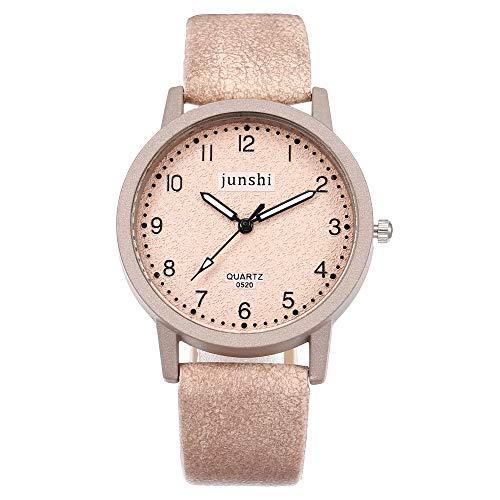 Leey Damen Armbanduhr mit Leder-Armband Einfach Günstige Analog Quarz Wasserdicht Uhr Mode Damen-Armbanduhr Uhren Armband Armreif Watch Edelstahl Chic Retro Fashion Armbanduhr Frauen