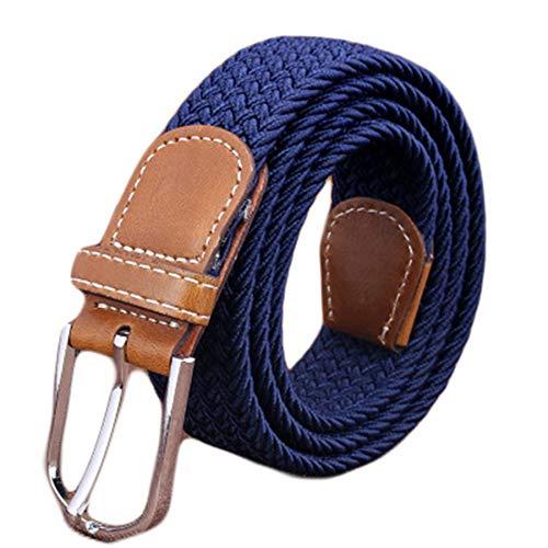 Andongnywell Elastic Canvas Braided Belt for Men Women Stretch Woven Belt Multiple Colours Waist Cinch Waist Band (Navy,One Size)