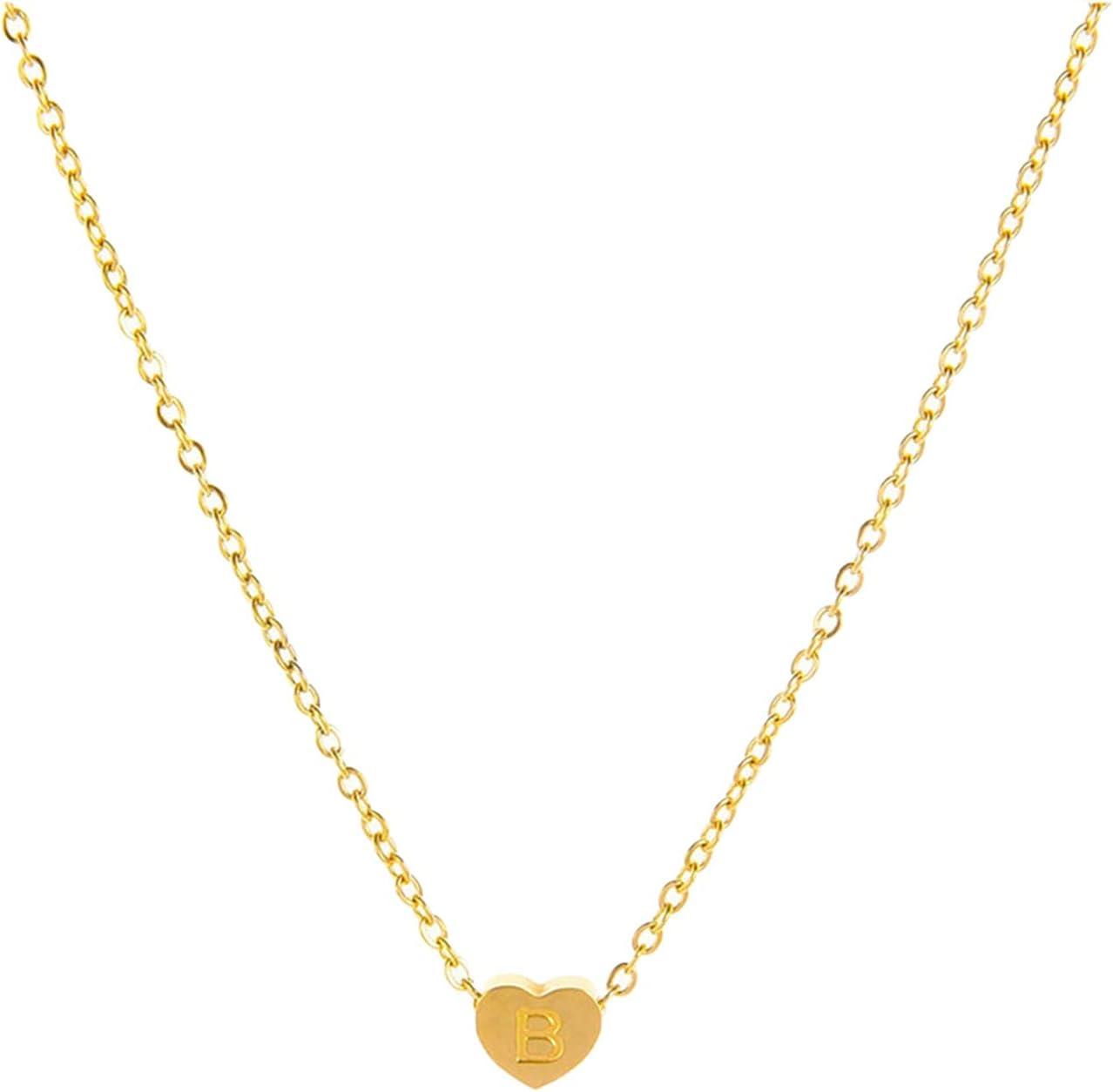 MORECON Women's Fashion Heart Letter Necklace 26 Letters Love Clavicle Neck Chain Engagement Necklace, Souvenir Necklace, Ideal Gift for Women Girlfriends (B)