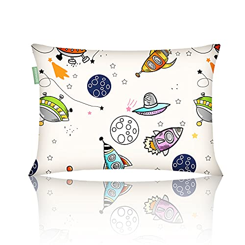 VHOPMORE Baby Toddler Pillow with Pillowcase, Toddler's Flat Pillow for Sleeping - 12X18 Soft Hypoallergenic Organic Cotton, Machine Washable, Infant Kids Pillow for Travel, Daycare, Cribs - Space