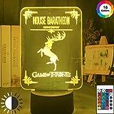 Zhuhuimin Led Nachtlicht Thron Spiel Baratheon Spiel Home Decoration Nachtlicht Farbe Wickeltisch Lampe Familie Logo
