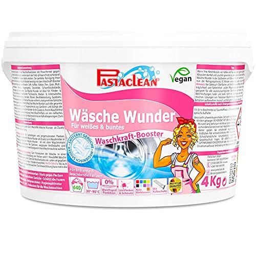 Pastaclean Wäsche Wunder Premium 4kg - reicht für 640 Waschladungen - für Weiß und Buntwäsche Waschkraftverstärker + 1 Mini MM Spezialfasertuch