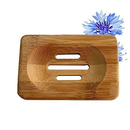 Depory 1 Stück Seifenhalter aus Natürlichen Holz Bambus Seifenschale Aufbewahrungsbox für Badezimmer Dusche Packung