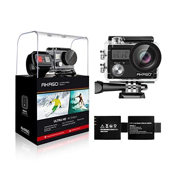 AKASO Brave 4 4K 20MP WiFi Action Camera Ultra HD with EIS 30m Underwater Waterproof Camera Remote Control 5X Zoom… 1 UPGRADE SERIES OF AKASO EK7000: Featuring 4K/24fps, 2K/30fps and 1080P/60FPS video resolution and 20MP photos, AKASO Brave 4 action camera enables you to take incredible photos and ultra HD videos, clearly recording the beauty and wonders in life! OPTIONAL VIEW ANGLE AND ANTI-SHAKING: Adjust the view angle of this action camera according to your needs between 170°, 140°, 110°, and 70°. Built in smart gyroscope for anti-shaking and image stabilization to make your video much more smooth. SPORTS CAMERA WITH WIFI AND HDMI: Sharing & editing videos from an action camera is easier with the free app. Just download the App on your phone or tablet and connect with this action camera. Wi-Fi signal ranges up to 10 meters. With HDMI Port allows you to connect it with television.