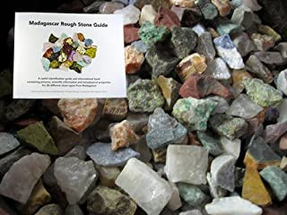 Fantasia Materials: 2 Pounds of The Original 12 Stone Mix from Madagascar with 30 Page Identification Book - Rough Gemstones Labradorite, Rose Quartz, Green Opal, Amethyst, Petrified Wood & More!