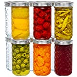 12 Oz Mason Jars Glass Regular Mouth Canning Jars with Airtight Lids & Band, Quilted Crystal Jelly Jars for Jams, Food Storage, Prep, Pickles, Preserves, Overnight Oats, Spices,Salad, Drinking-12 Pack