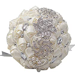 Artifical Rose Posy with Satin Jeweled Throw Bouquet