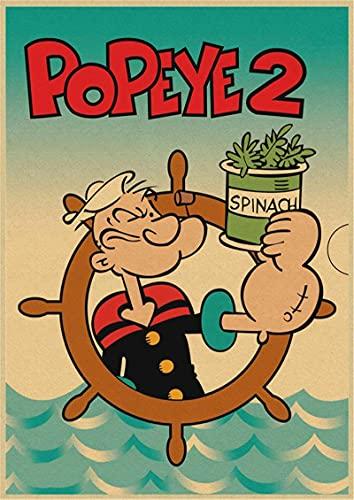 Yiwuyishi Popeye el Marinero con Betty Boop película clásica Retro Bar Lienzo póster Pintura Decorativa 50x70 cm P-884