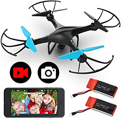 Force1 U45WF Drones with Camera for Adults and Kids - VR Capable WiFi Drone, Remote Control FPV Drone with 720p HD Camera and 2 Drone Batteries from Force1