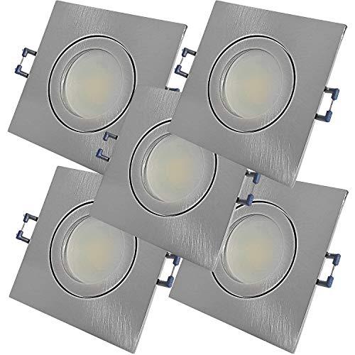 LED Bad Einbauleuchten 230V inkl. 5 x 9W SMD LM Farbe Eisen geb. IP44 LED Einbaustrahler Neptun Eckig 4000K Deckenspots