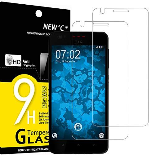 NEW'C 2 Unidades, Protector de Pantalla para HTC Desire 825, Antiarañazos, Antihuellas, Sin Burbujas, Dureza 9H, 0.33 mm Ultra Transparente, Vidrio Templado Ultra Resistente
