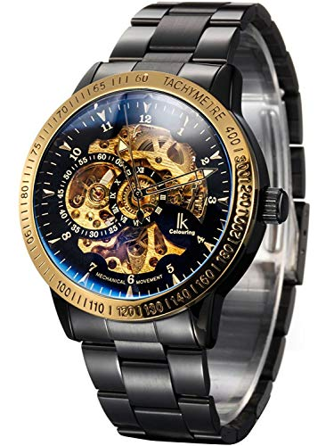 Carrie Hughes Men's Steampunk Automatic Mechanical Discoloration Glass Skeleton Stainless Steel Watch (88226GB)