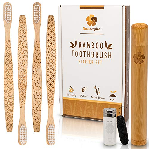 Eco-Friendly Bamboo Toothbrush Set - 4 Engraved Toothbrushes, 1 Bamboo Travel Case, and 1 Charcoal Bamboo Dental Floss