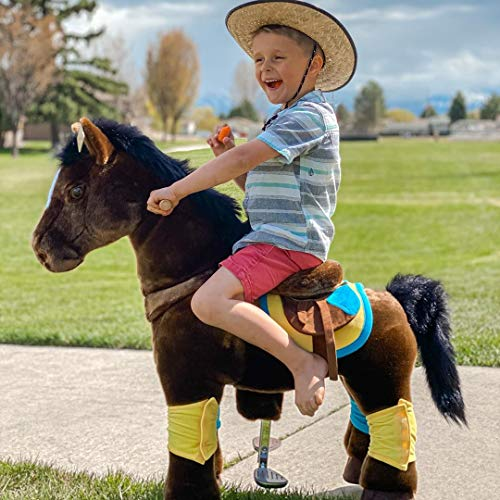 PonyCycle Official Riding Horse No Battery No Electricity Mechanical Chocolate Brown Color Giddy up Pony Plush Toy Walking Animal for Age 4-9 Years Medium Size - K45
