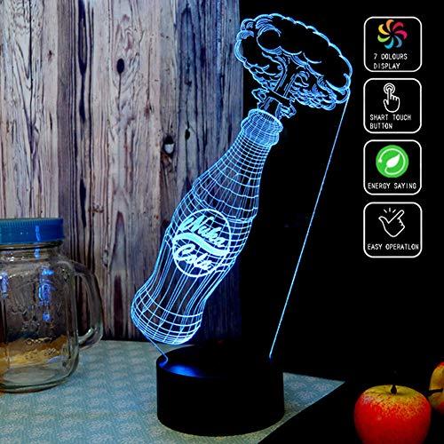XLBAXLJlight Coca Cola 3D Acryl-Nachtlicht, 7 Farben Led Touch-Schalter Fernbedienung Tischlampe Art und Weise kreative Dekoration Schlaf Licht für Schlafzimmer